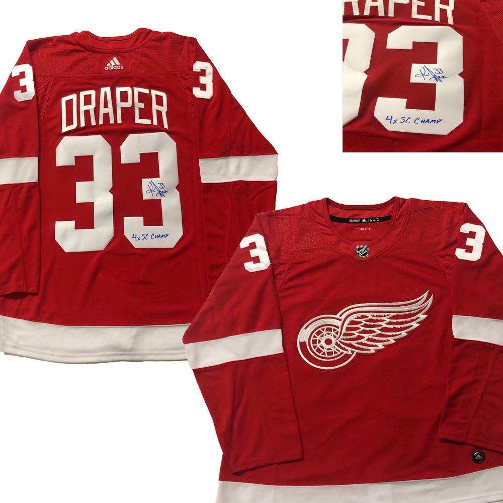 KRIS DRAPER Signed Detroit Red Wings Red Adidas PRO Jersey - 4x SC Champs