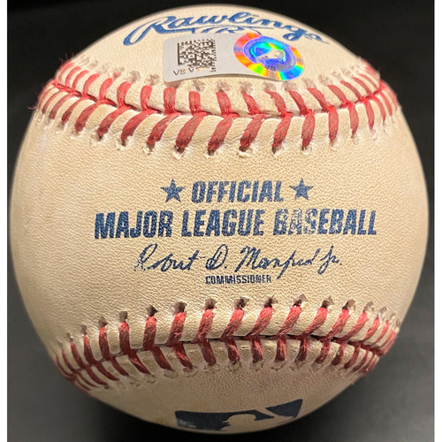 Photo of Game-Used Baseball: Jedd Gyorko Milwaukee Brewers Home Run pitched by Tigers Position Player Travis Demeritte (MLB AUTHENTICATED)