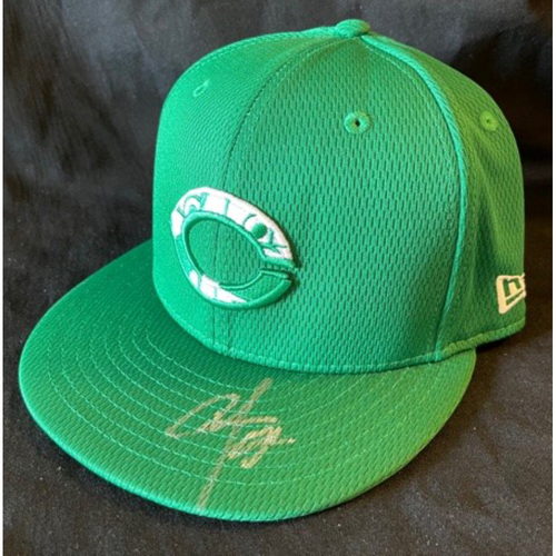 Photo of Cionel Perez -- Game-Used & Autographed Cap -- 2021 St. Patrick's Day Game -- Size 7