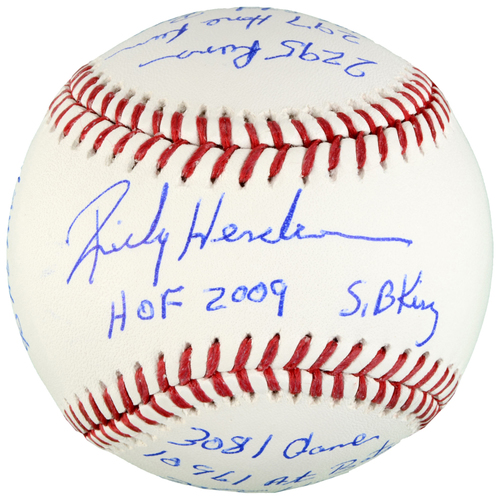 Photo of Rickey Henderson Oakland Athletics Autographed Baseball with Multiple Career Stats Inscriptions - #6 in a Limited Edition of 6