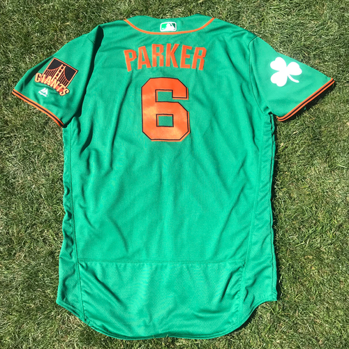 Photo of San Francisco Giants - 2018 St. Patrick's Day - Game-Used Jersey - Jarrett Parker