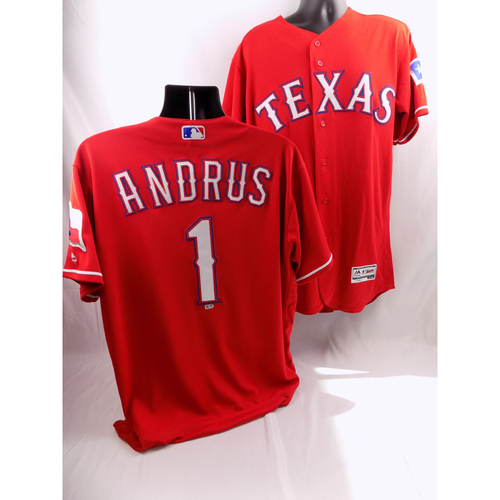 Photo of 9/19/18 - Game-Used Red Jersey - Elvis Andrus