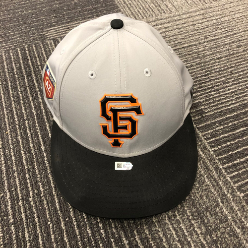 Photo of 2018 Team-Issued Gray Spring Training Cap - #9 Brandon Belt - Size 7 1/8