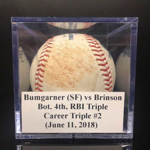 Photo of Game-Used Baseball: Bumgarner (SF) vs Brinson, Bot. 4th, RBI Triple (June 11, 2018)