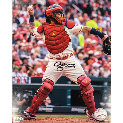 Photo of Cardinals Authentics: St. Louis Cardinals Yadier Molina Throwing Autographed Photo