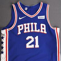 Joel Embiid - Philadelphia 76ers - Kia NBA Tip-Off 2019 - Game-Worn 1st Half Icon Edition Jersey - Double-Double
