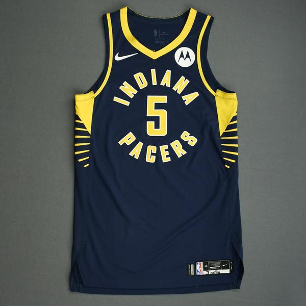 Image of Edmond Sumner - Indiana Pacers - Game-Worn Icon Edition Jersey - NBA India Games - 2019-20 NBA Season