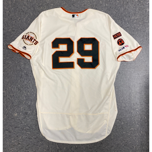Photo of 2019 Game Used Home Opening Day Cream Jersey worn by #26 Jeff Samardzija on 4/5 & 4/6 vs, Tampa Bay Rays - 4.2 IP, 4 K's - Size 50