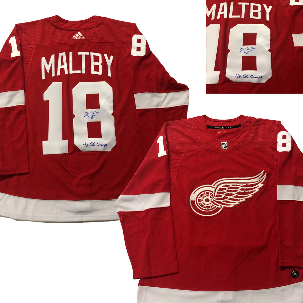 KIRK MALTBY Signed Detroit Red Wings Red Adidas PRO Jersey - 4x SC Champs