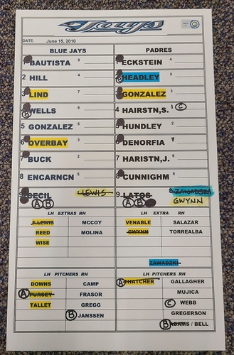 Photo of Authenticated Game Used Lineup Card (June 15, 2010 at SDP): Aaron Cunningham with 1 HR and 4 RBIs