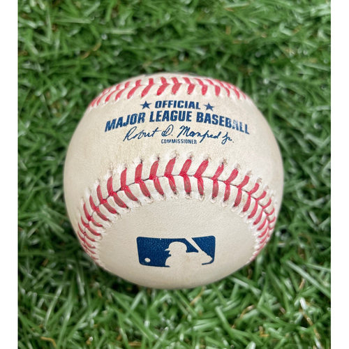 Photo of Game Used Baseball: Giancarlo Stanton single off Tyler Glasnow - Game #1 of DH - Top 2 - August 8, 2020 v NYY