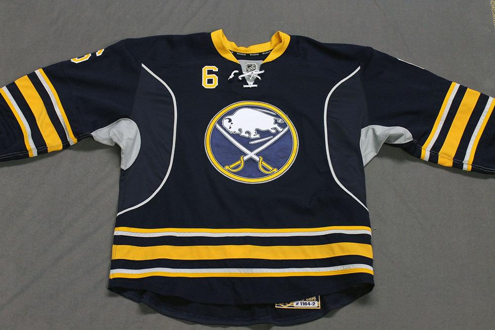 Mike Weber Game Worn Buffalo Sabres Home Jersey.  Serial: 1164-2. Set 2 - Size 56.  2013-14 season.