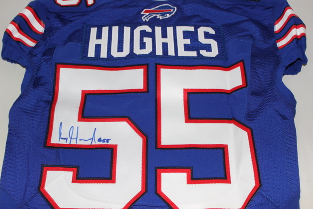 NFL Auction | BILLS - JERRY HUGHES SIGNED AUTHENTIC JERSEY - SIZE 42