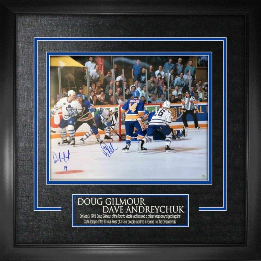 Doug Gilmour / Dave Andreychuk Dual Signed 16x20 Etched Mat Wrap-Around Goal