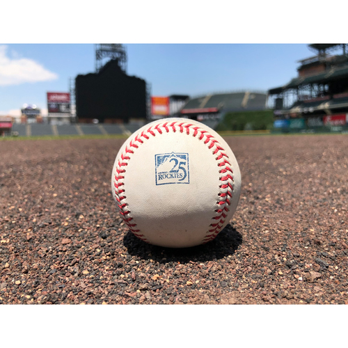 Photo of Colorado Rockies Game-Used Baseball - Pitcher: Tyler Anderson, Batter: Ryon Healy - Groundout to Story - July 15, 2018