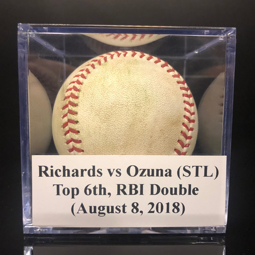 Photo of Game-Used Baseball: Richards vs Ozuna (STL), Top 6th, RBI Double (August 8, 2018)