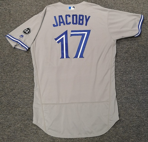 Photo of Authenticated Game Used Jersey - #17 Brook Jacoby (Aug 15, 18). Size 46