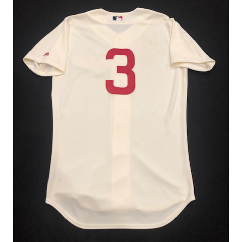Photo of Scooter Gennett -- Game-Used 1936 Throwback Jersey -- Cubs vs. Reds on June 30, 2019 -- Jersey Size 42