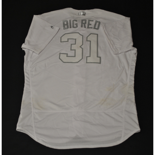 "Photo of A.J. ""BIG RED"" Puk Oakland Athletics Game-Used 2019 Players' Weekend Jersey"