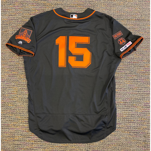 Photo of 2019 Team Issued Gigantes Black Home Alternate Jersey - #15 Bruce Bochy - Size 52