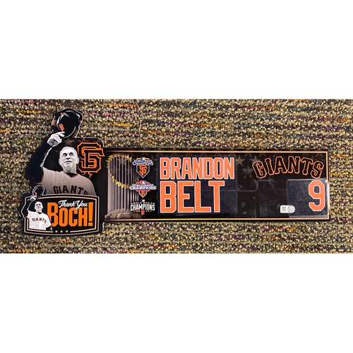 Photo of 2019 Game Used Thank You BOCH! Locker Tag - #9 Brandon Belt