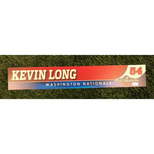 Photo of Game-Used Kevin Long 2019 Postseason Locker Tag