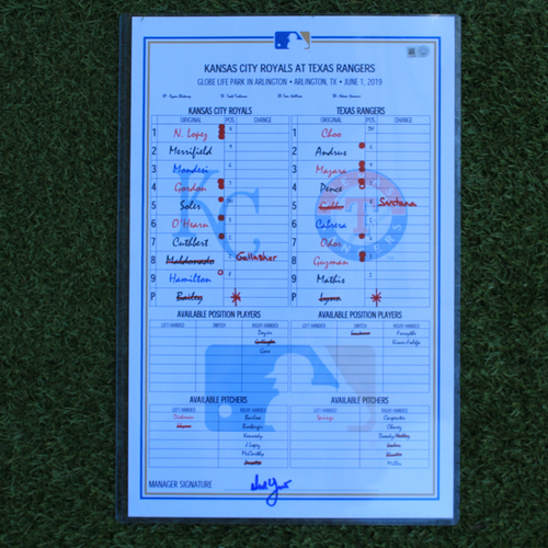 Game-Used Lineup Card: Shin-Soo Choo 320th and 321st Career Doubles (KC @ TEX - 6/1/19)