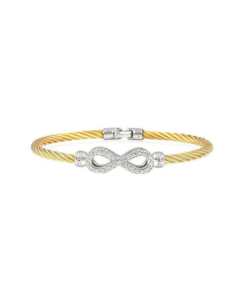 Photo of ALOR 18K White Gold and SS Cable Diamond Infinity Bangle