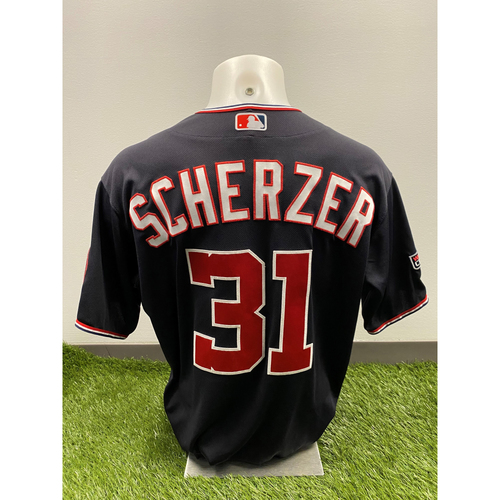 Photo of Max Scherzer 2020 Game-Used World Series Champions Navy Script Jersey