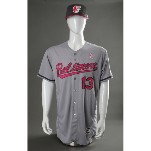 Manny Machado Autographed, Game-Worn Mother's Day Jersey & Cap