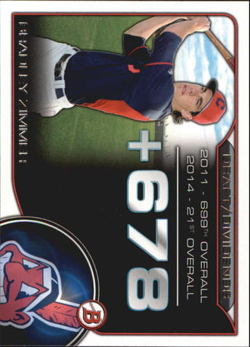Photo of 2015 Bowman Draft Draft Dividends #DDBZ Bradley Zimmer -- Indians post-season