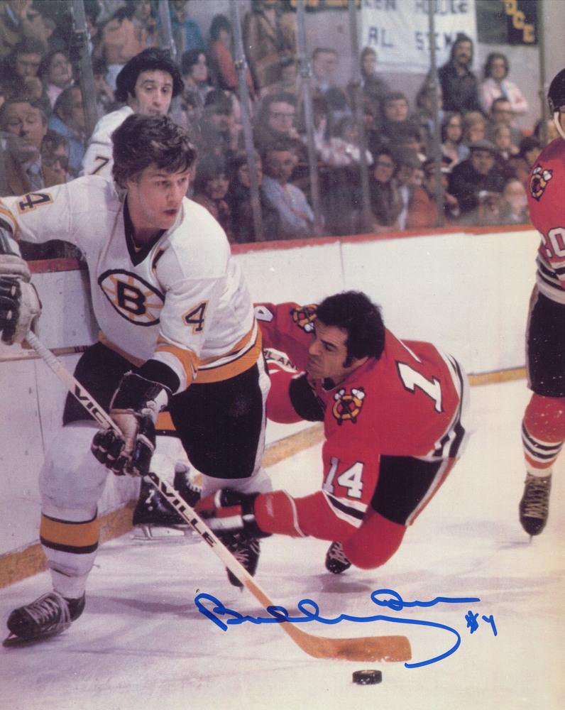 Bobby Orr Signed 8x10 Bruins vs Blackhawks