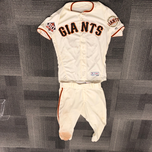 San Francisco Giants - 2018 Game Used Jersey, Pants & Cleats worn by #10 Evan Longoria on 9/30/18 vs. LAD - Jersey Size - 42, Cleat Size - 11 & Pant Size 35-42-20