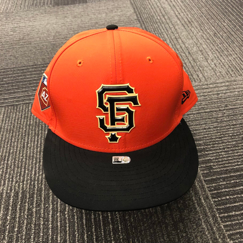 Photo of 2018 Game-Used Orange Spring Training Cap worn by #15 Bruce Bochy on 3/27/18 vs. Oakland Athletics - Size 8