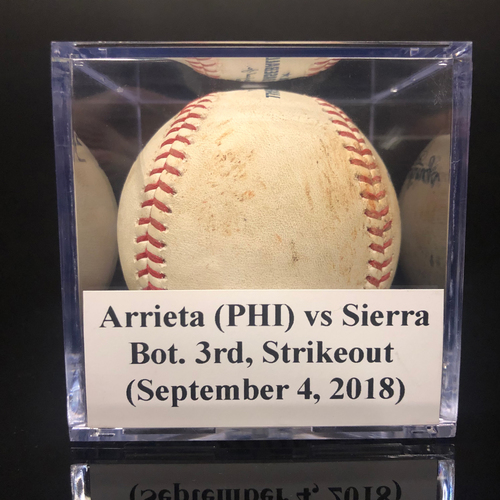 Photo of Game-Used Baseball: Arrieta (PHI) vs Sierra, Bot. 3rd, Strikeout (September 4, 2018)