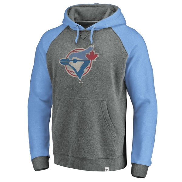 Toronto Blue Jays Cooperstown Logo Distressed Raglan Hoodie by Fanatics