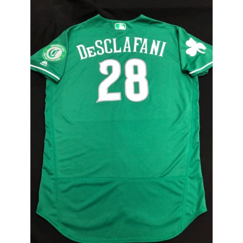 Photo of Anthony DeSclafani -- Team-Issued Jersey -- 2019 St. Patrick's Day