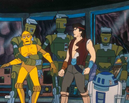 C-3PO, Jann Tosh, and R2-D2