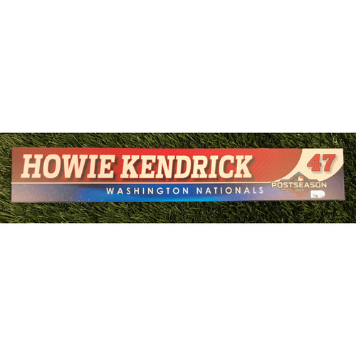 Photo of Game-Used Howie Kendrick 2019 Postseason Locker Tag