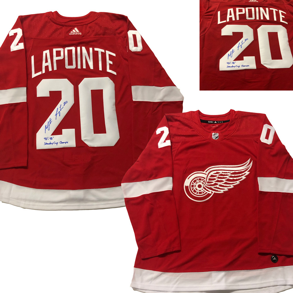 MARTIN LAPOINTE Signed Detroit Red Wings Red Adidas PRO Jersey - 2x SC Champs