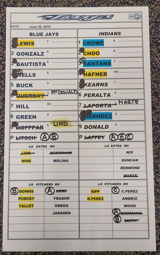 Photo of Authenticated Game Used Lineup Card (June 30, 2010 at CLE): Shin-Soo Choo Home Run Game
