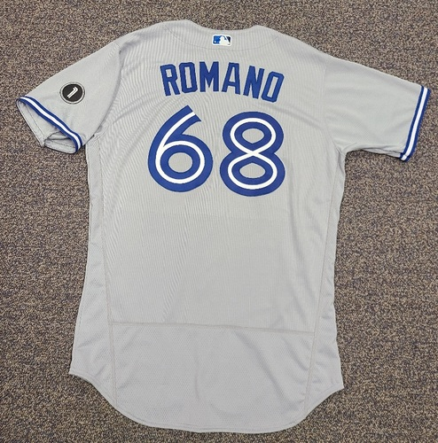 Photo of Authenticated Team Issued Jersey: #68 Jordan Romano (2020 Season). Set 2. Size 46.