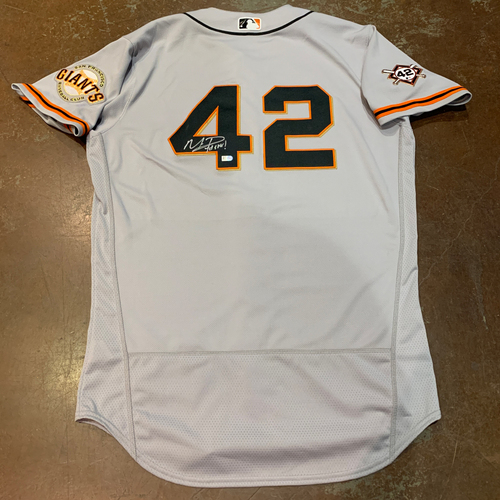 Photo of 2021 Autographed Game Used Jackie Robinson 42 Day Road Jersey worn by #1 (42) Mauricio Dubon on 4/16 @ MIA - Size 44