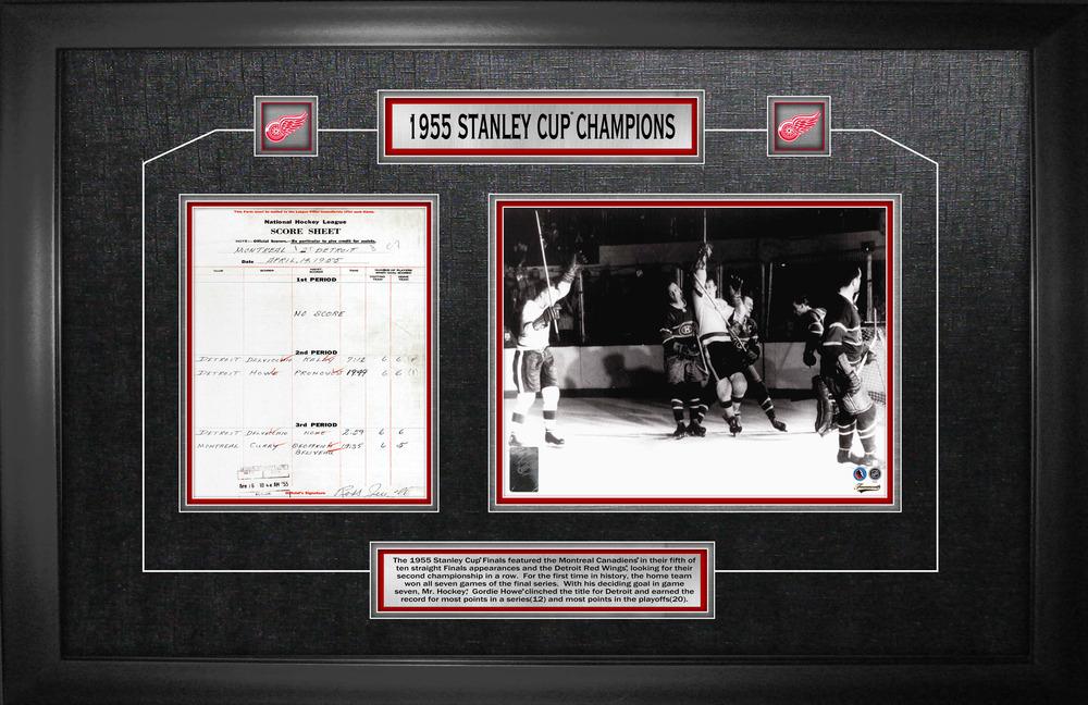 Gordie Howe - Framed Scoresheet Collage Detroit Red Wings 1955 Stanley Cup