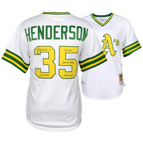 Photo of Rickey Henderson Oakland Athletics Autographed White Mitchell and Ness Authentic Jersey with Multiple Inscriptions - #1 in a Limited Edition of 35
