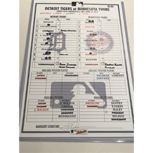 Photo of Game-Used Line-Up Card: Justin Verlander Started & Miguel Cabrera Hit 3 Singles
