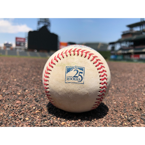 Photo of Colorado Rockies Game-Used Baseball - Pitcher: Archie Bradley, Batter: Trevor Story - Single to Souza Jr. - July 10, 2018