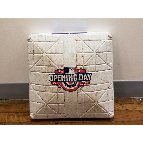 Photo of Game-Used Opening Day Base: Miami Marlins at Washington Nationals - 3rd Base Used in Innings 1-3 - 4/7/16