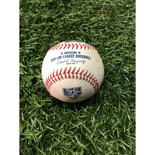 Photo of 20th Anniversary Game Used Baseball: Jace Peterson double off Austin Pruitt - May 27, 2018 v BAL