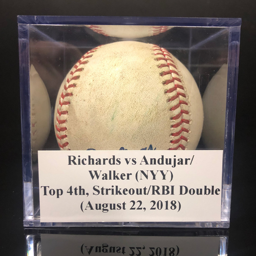 Photo of Game-Used Baseball: Richards vs Andujar/Walker (NYY), Top 4th, Strikeout/RBI Double (August 22, 2018)